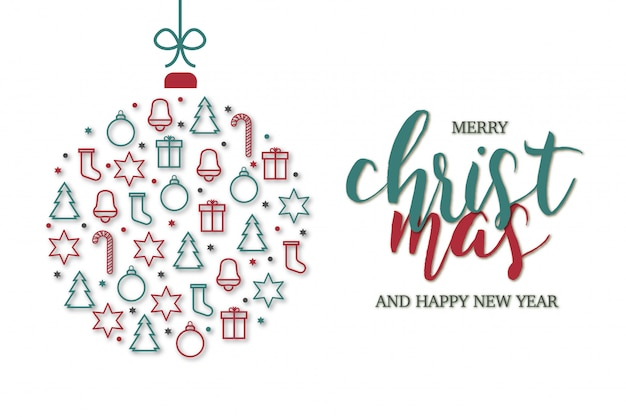 Merry christmas card with icons template Free Vector