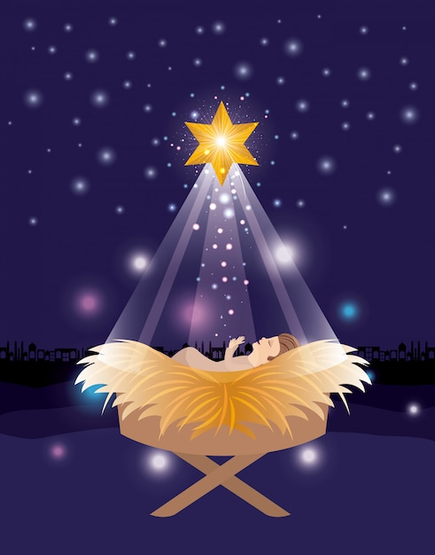 Christmas Jesus.Merry Christmas Card With Jesus Baby Vector Premium Download
