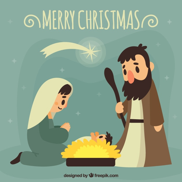 Merry Christmas Card With Nativity Scene In Vintage Style Free Vector