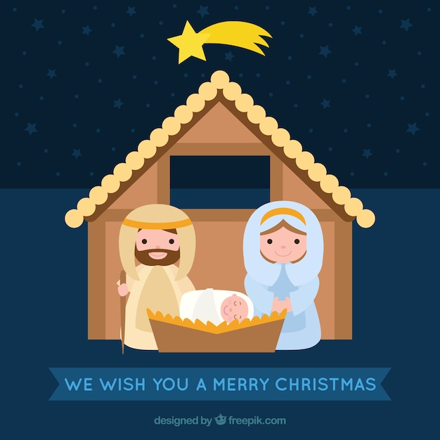 Merry christmas card with nativity scene Free Vector