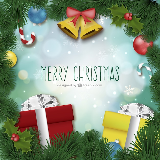 Merry Christmas card with ornaments