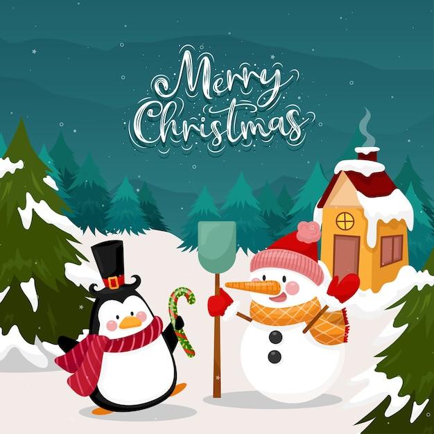 펭귄과 눈과 소나무에 눈사람 메리 크리스마스 카드 무료 벡터