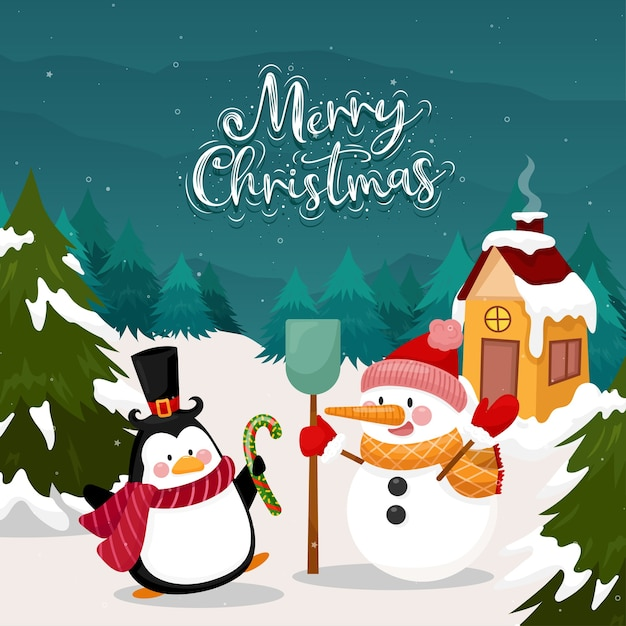 Merry christmas card with penguin and snowman on snow and pine Free Vector