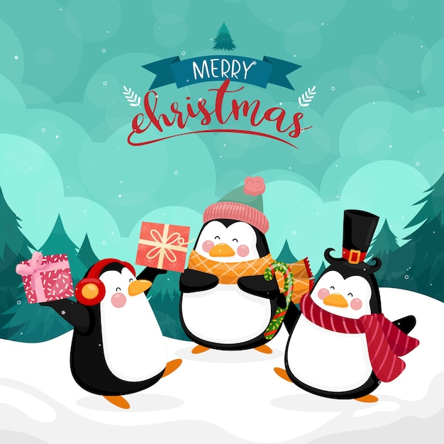 Merry christmas card with penguin on with mountain and pine Free Vector