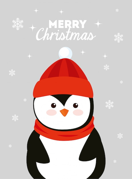 Merry christmas card with penguin Free Vector