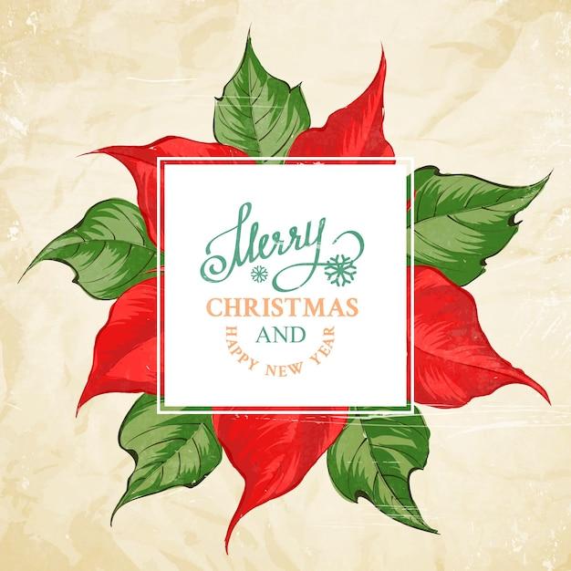 ポインセチアの花柄のメリークリスマスカード 無料ベクター