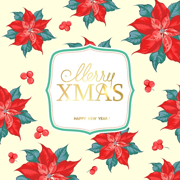 Free Vector Merry Christmas Card With Poinsettia Flower Pattern
