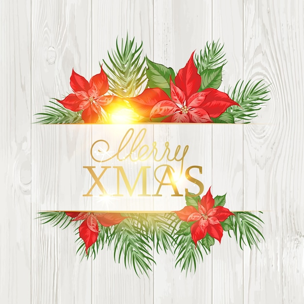 Merry christmas card con motivo floreale poinsettia Vettore gratuito