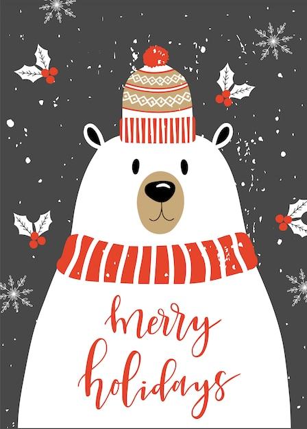 Merry christmas card with polar bear. Premium Vector