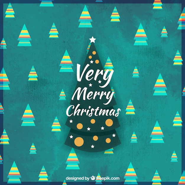 Merry christmas card with pretty trees in vintage style Free Vector