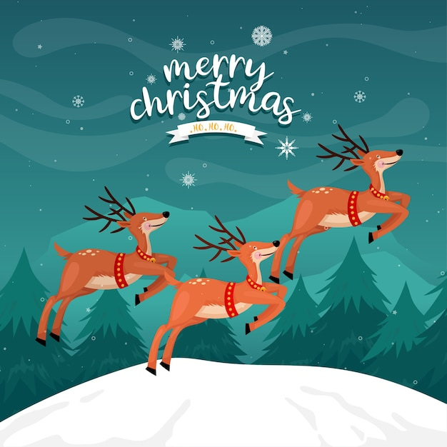 Merry christmas card with reindeer on the mountain with pine Free Vector