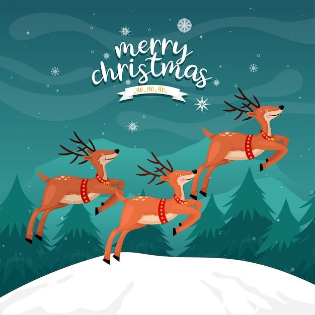 소나무와 산에 순 록 메리 크리스마스 카드 무료 벡터