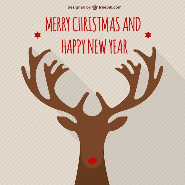Merry christmas card with rudolf Free Vector