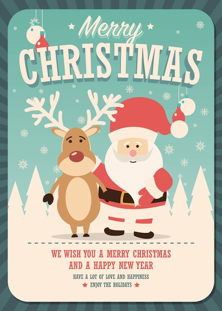 Merry Christmas card with Santa Claus and reindeer Vector | Premium ...