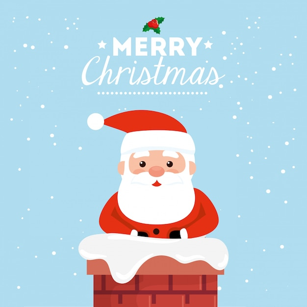 Merry christmas card with santa claus in chimney Free Vector
