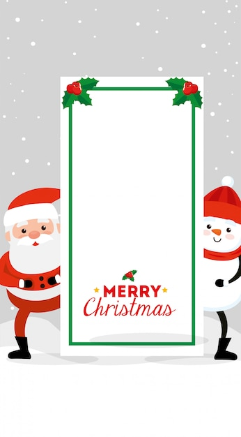 Merry christmas card with santa claus and snowman Free Vector