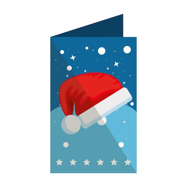 Merry christmas card with santa hat Premium Vector