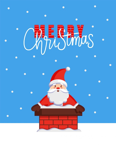 Merry christmas card with santa look from chimney Premium Vector