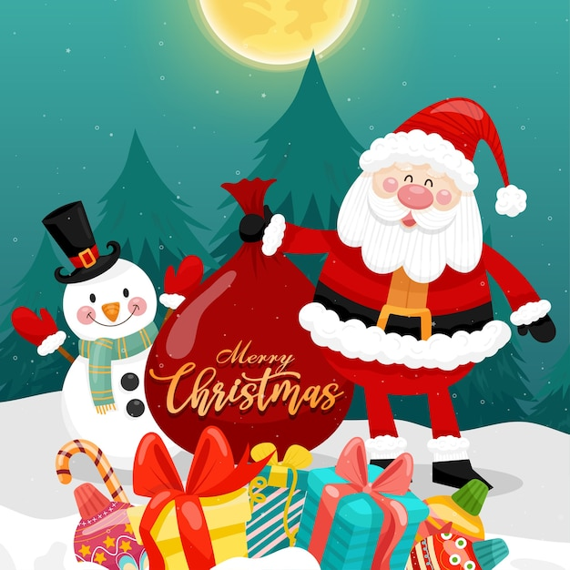 Merry christmas card with santa, snowman and gift box. Free Vector
