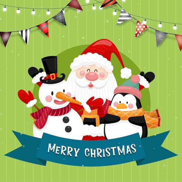 サンタ、雪だるま、ペンギン、ギフトボックス付きのメリークリスマスカード。 無料ベクター