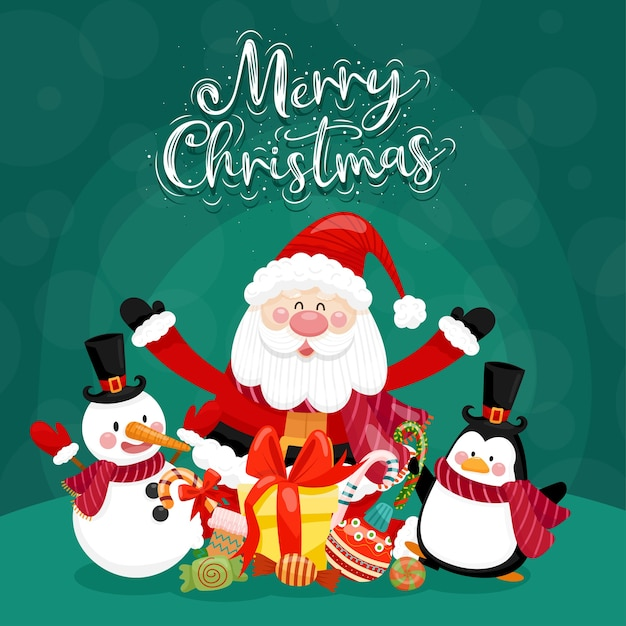 Merry christmas card with santa, snowman, penguin and gift box. Free Vector