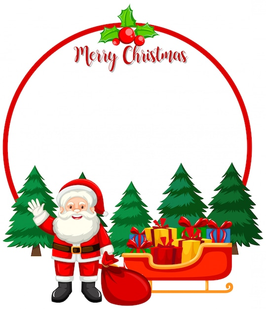 Merry christmas card with santa Free Vector