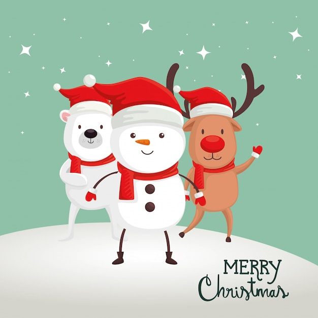 Merry christmas card with snowman and animals Free Vector