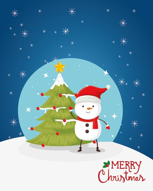 Merry christmas card with snowman and pine tree Free Vector