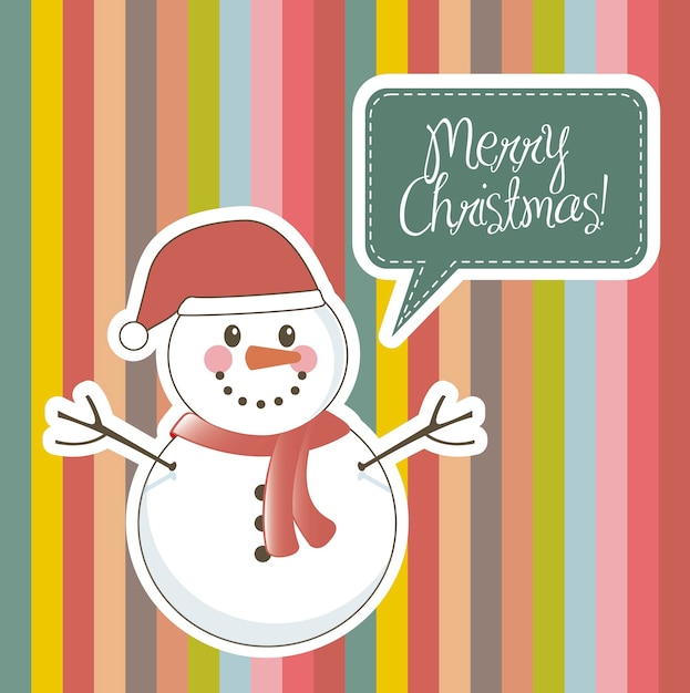 Merry christmas card with snowman over stripes vector illustration Premium Vector