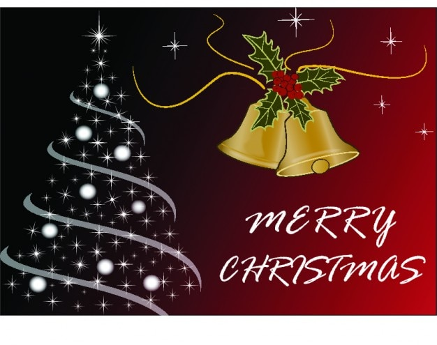 Christmas Card Images Free.Merry Christmas Card With Tree And Bells Vector Free Download