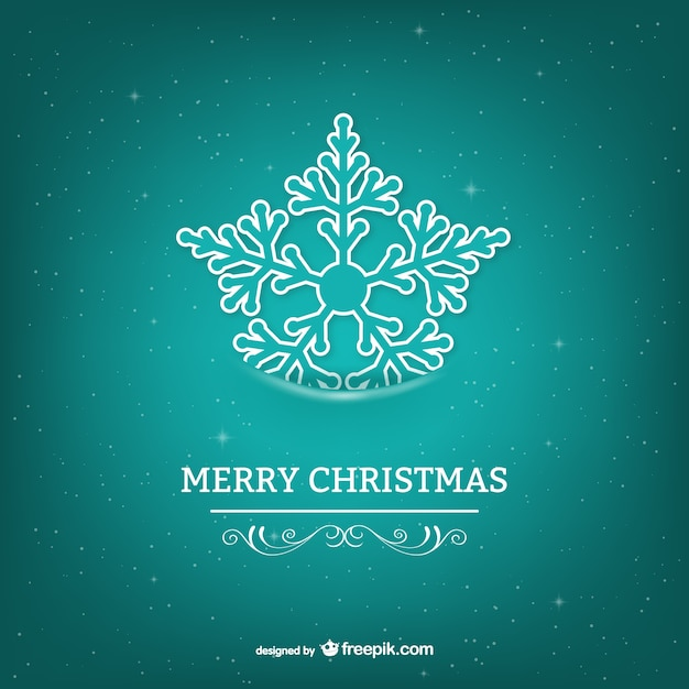 merry christmas card with turquoise snowflake vector free download