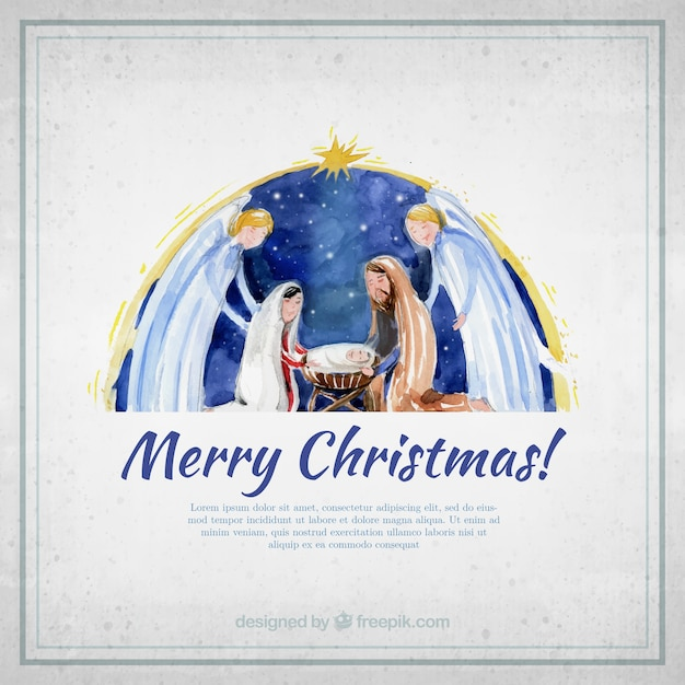 Merry Christmas Card With Watercolor Nativity Scene Free Vector