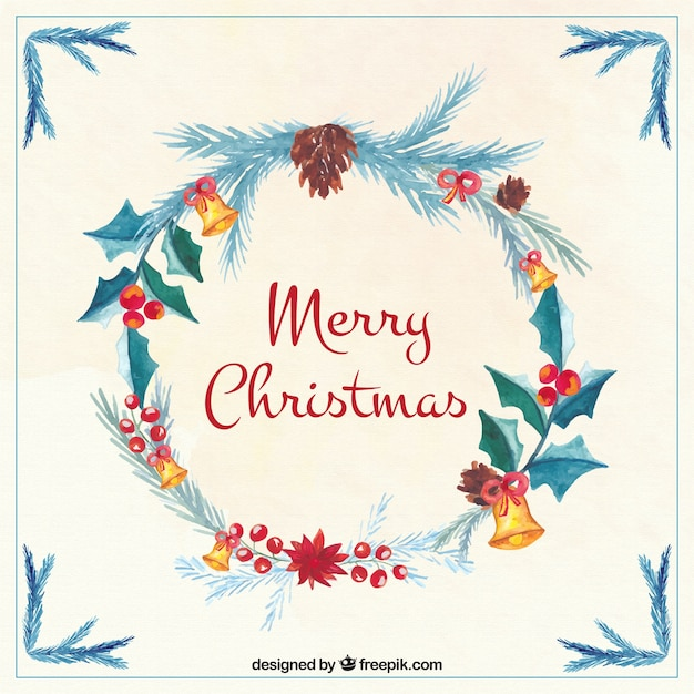 Merry christmas card with watercolor pretty floral wreath Vector ...