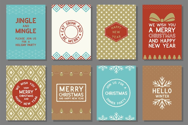 77f30b6383 Merry Christmas cards Premium Vector