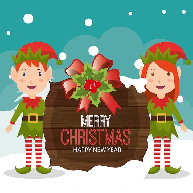 Merry christmas cartoon card design Free Vector