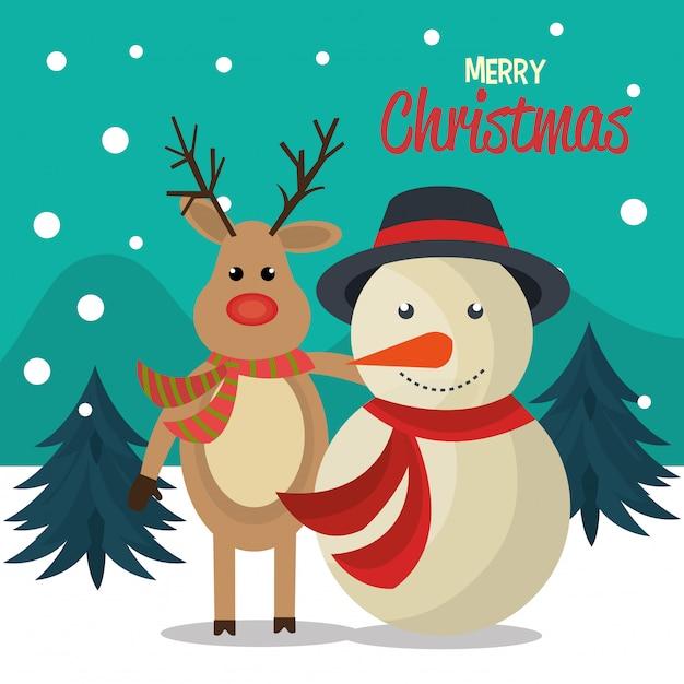 Merry christmas cartoon greeting card