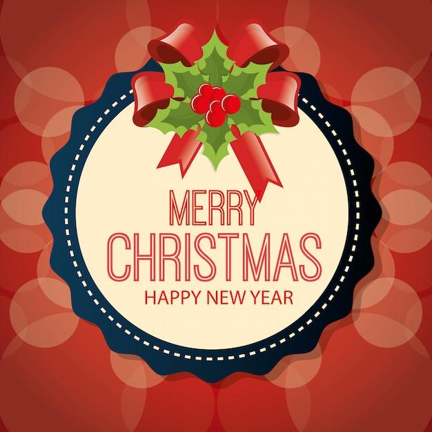 Merry christmas cartoon greeting card design Free Vector