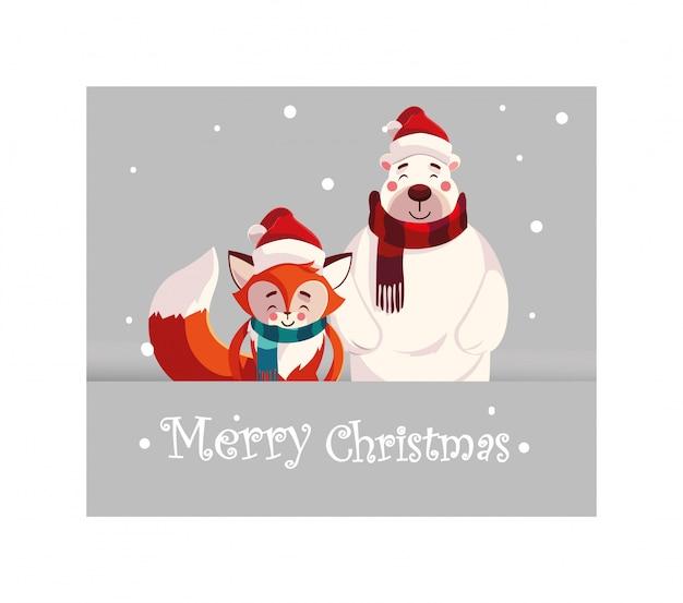 Merry christmas cartoons | Premium Vector