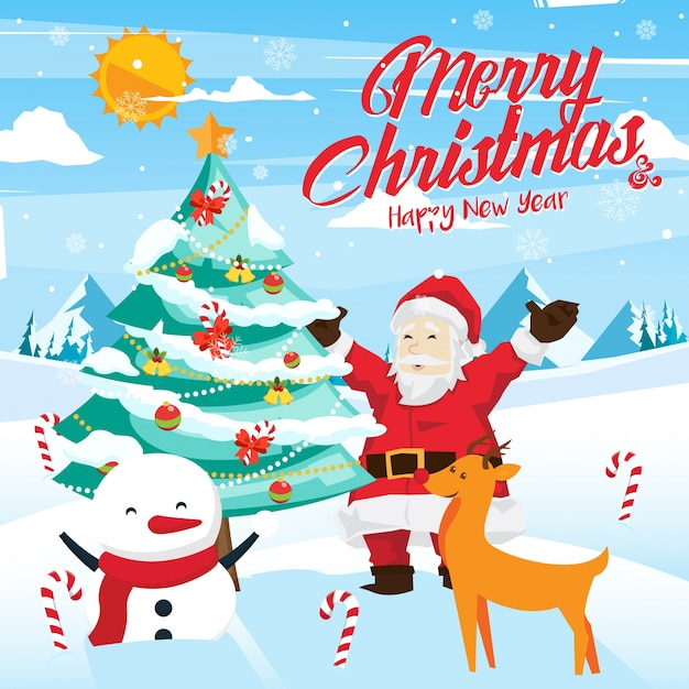 Merry Christmas Illustration.Merry Christmas Celebration Card Illustration Vector Free
