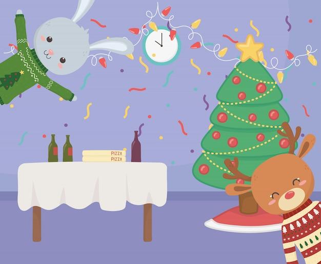Merry christmas celebration cheerful rabbit reindeer table food tree confetti Premium Vector