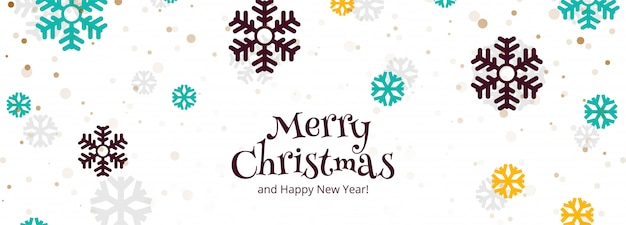 Merry christmas celebration and happy new year banner festival background Free Vector