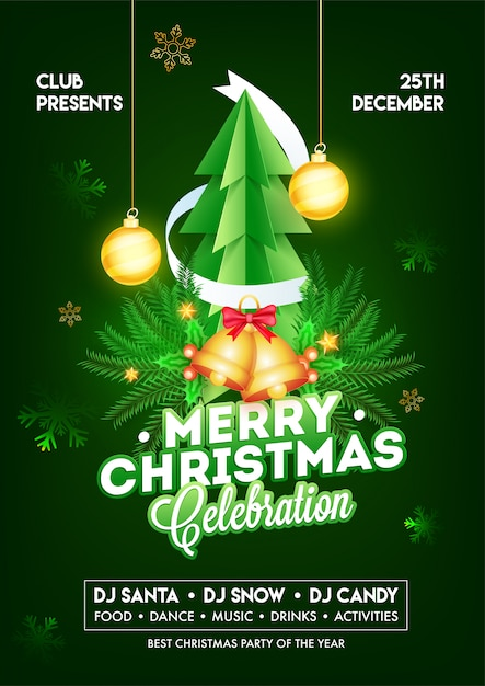 Merry Christmas Celebration Template Or Flyer With Paper Cut