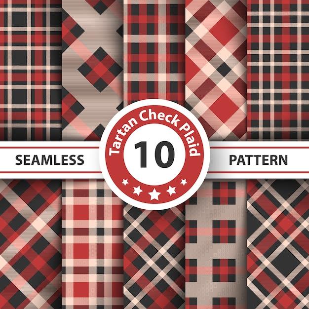 Merry christmas check plaid seamless pattern Premium Vector