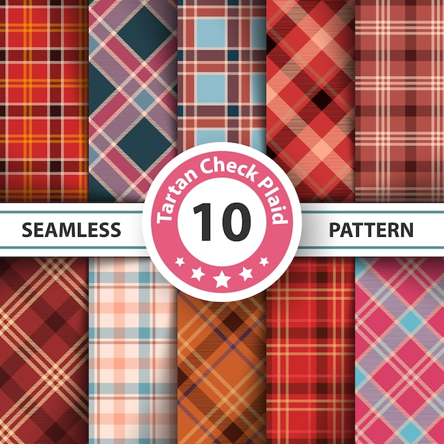 Merry christmas check plaid seamless pattern Premium Vector