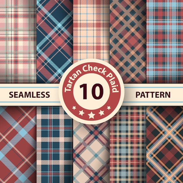 Merry christmas check plaid seamless patterns. Premium Vector