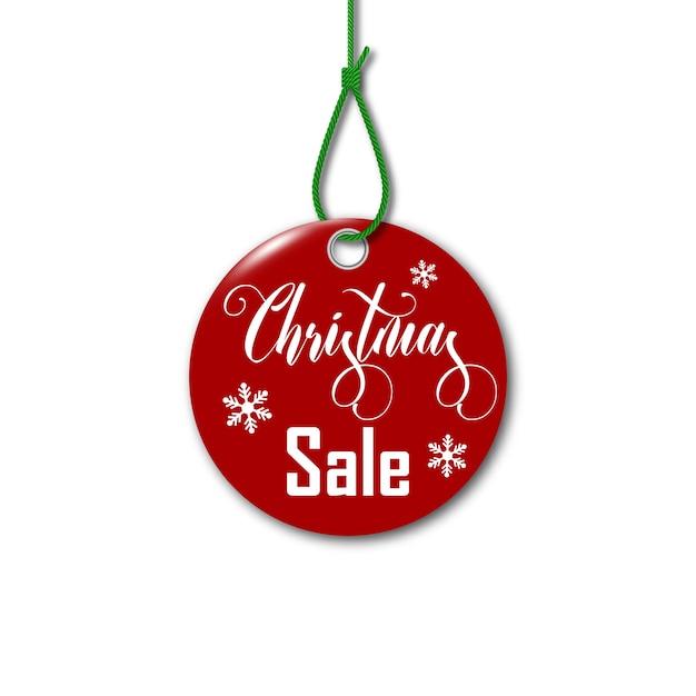 メリークリスマス。ロープのクリスマスセールタグ。 Premiumベクター