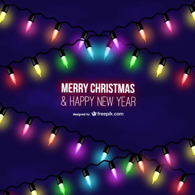 Merry Christmas colorful light bulbs