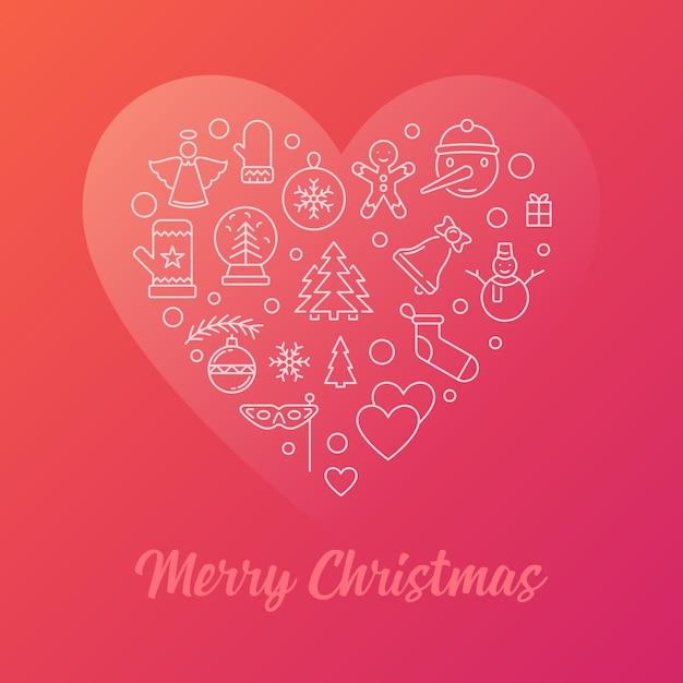 Счастливого рождества красочные современные векторные иллюстрации линия Premium векторы