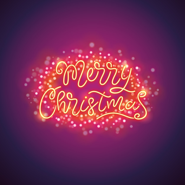 Merry christmas colorful poster with magic sparkles Premium Vector