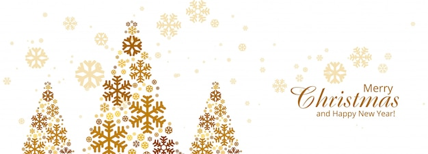 Merry christmas colorful snowflake tree card banner Free Vector